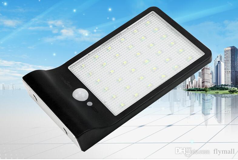 36 LED Solar Wandleuchte 450 Lumen 36LED Wandleuchte Straßenbeleuchtung Solar Bewegungsmelder Licht für Balkon Veranda Einfahrt Zaun Avenue