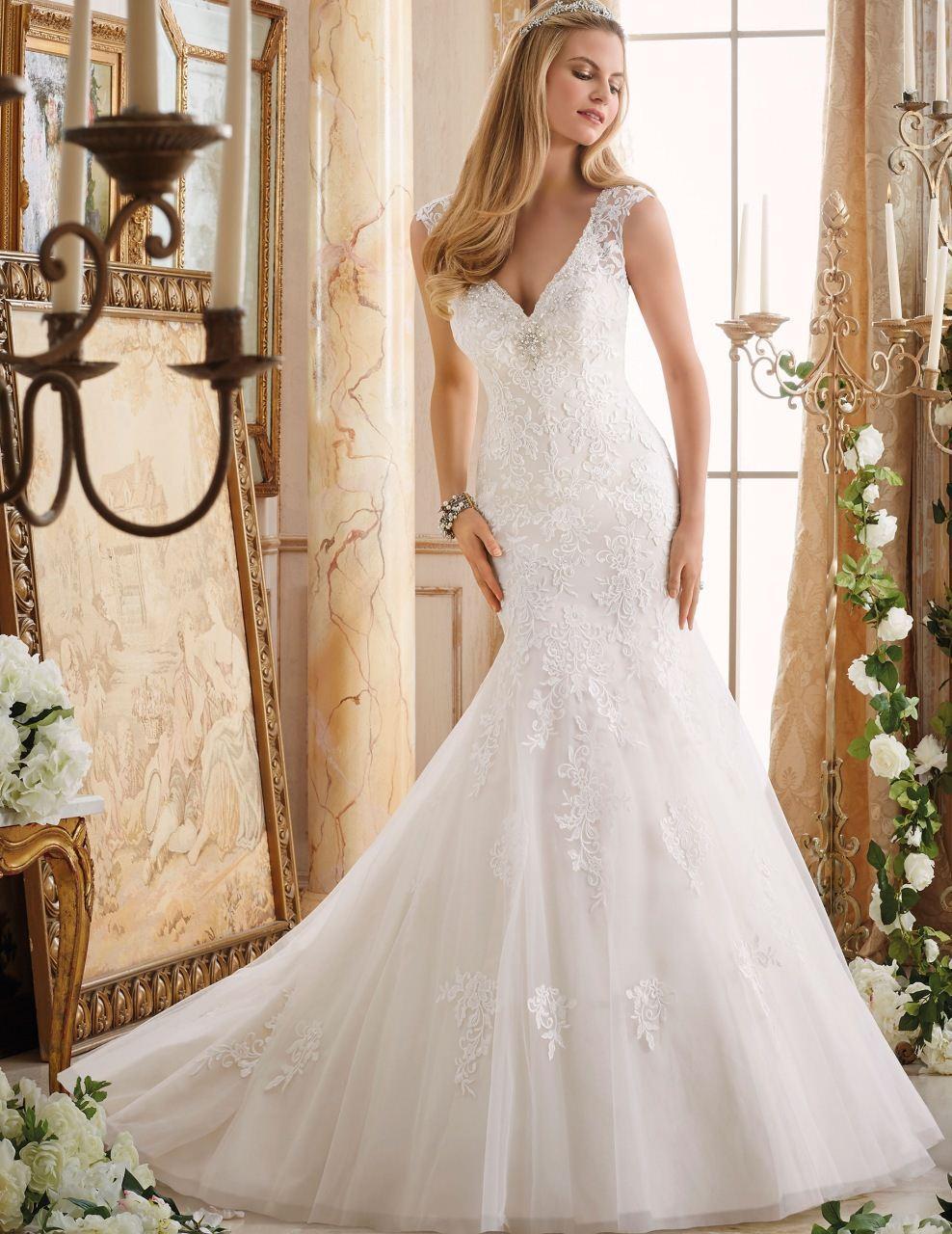 Lace Vintage Wedding Dress 2017 V Neck Beaded Women Sexy Mermaid