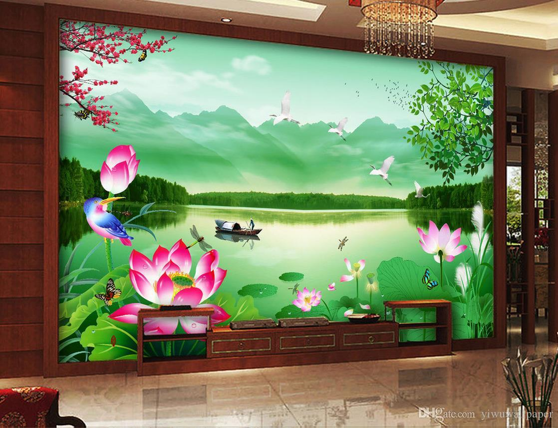 Castle peak green water lotus landscape landscape wall mural 3d castle peak green water lotus landscape landscape wall mural 3d wallpaper 3d wall papers for tv backdrop hd wallpaper hd wallpaper a from yiwuwallpaper amipublicfo Images