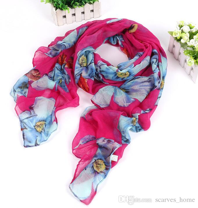 New Design Florial Voile Cotton Scarf light color Big Flower Print Scarf Large Size Long Scaves For Women Scarfs DHL Free