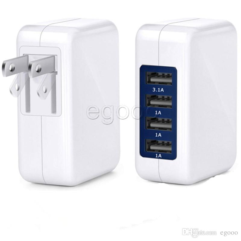 Travel Charger 4 Port USB Wall Charger High Speed Portable Power Adapter with Folding Plug for Samsung Android Phone