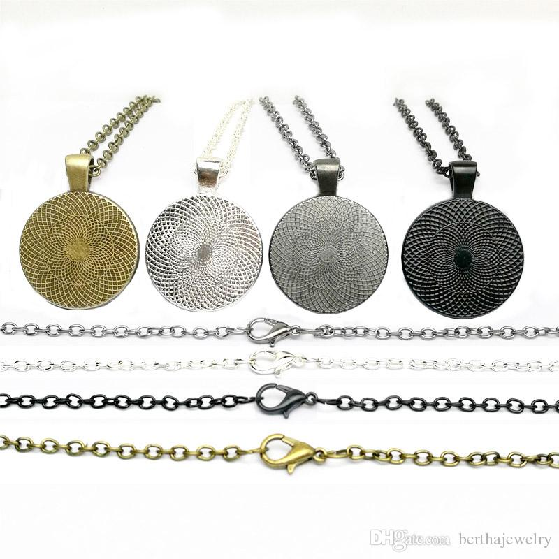Retro fashion Time silver black Bronze Gun black pendant necklace peacock feathers glass Time gem charms jewelry Best Gifts