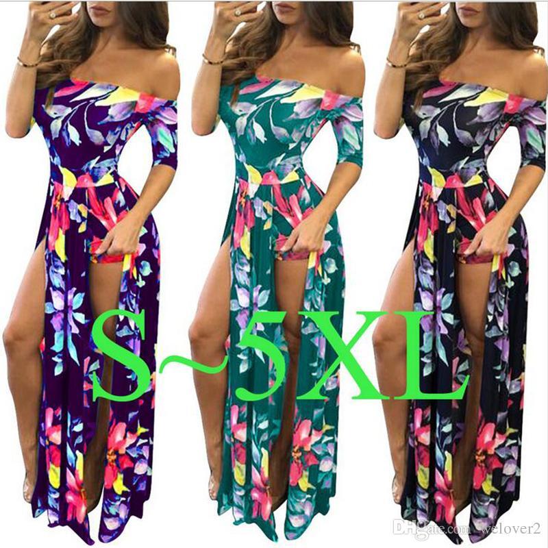 S 5XL Big Plus Size Off Shoulder Maxi Dress 2017 New Floral Printed Elegant  Women Vintage Sexy Dresses Autumn Long Dress S3074 White Party Dress Beaded  ... d28b47d10603