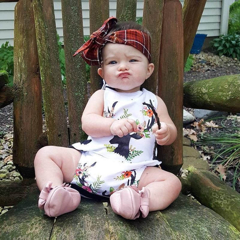 bébé filles vêtements bébé nouveau-né Floral cerf barboteuse roupas combinaison enfants en bas âge boutique vêtements tenues pyjama à volants à la main Body
