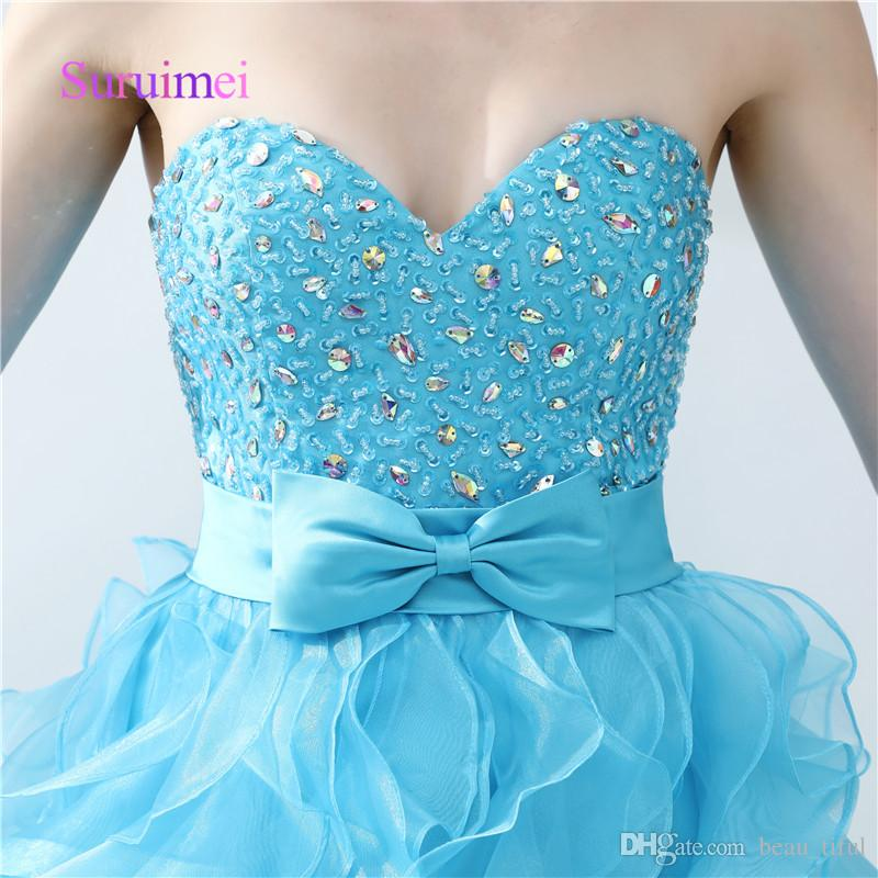 Simple A Line Prom Dresses Side Split Ruffles Sweetheart Crystal Organza Formal Long Evening Gowns Floor Length