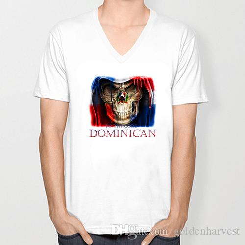 03a183e4 DOMINICAN skull flag New Fashion Men's V-neck T-shirts Short Sleeve summer  Mens tshirt Male Tops Tees Wholesale