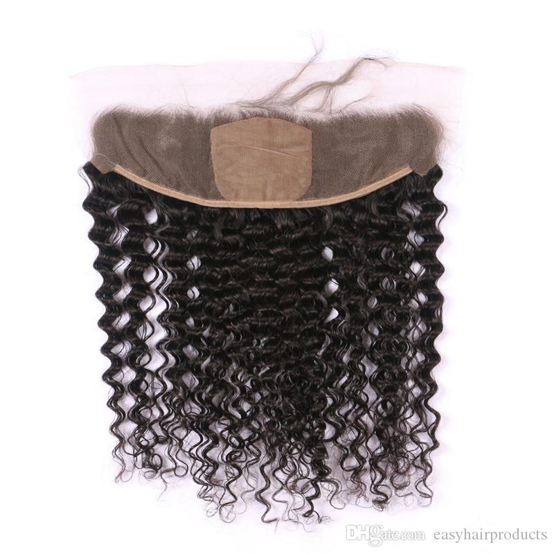 Silk Lace Frontal With Bundles Natural Black Mongolian Deep Wave Human Hair Weaves Closure G-EASY