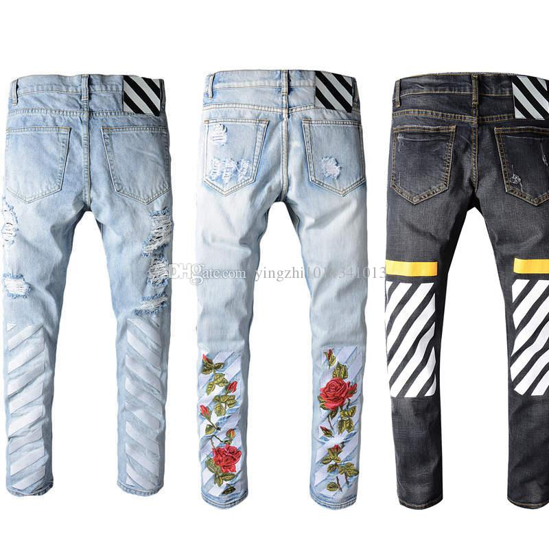 2017 Robin Jeans For Men Off White Embroidery Jeans Ripped Denim ...