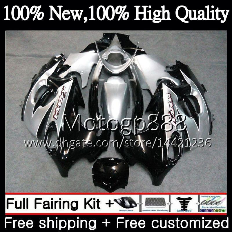 Cuerpo para SUZUKI KATANA GSXF 600 750 GSXF600 98 99 00 01 02 21PG13 GSX600F GSXF750 1998 1999 2000 2001 2002 Fairing Bodywork Black silver
