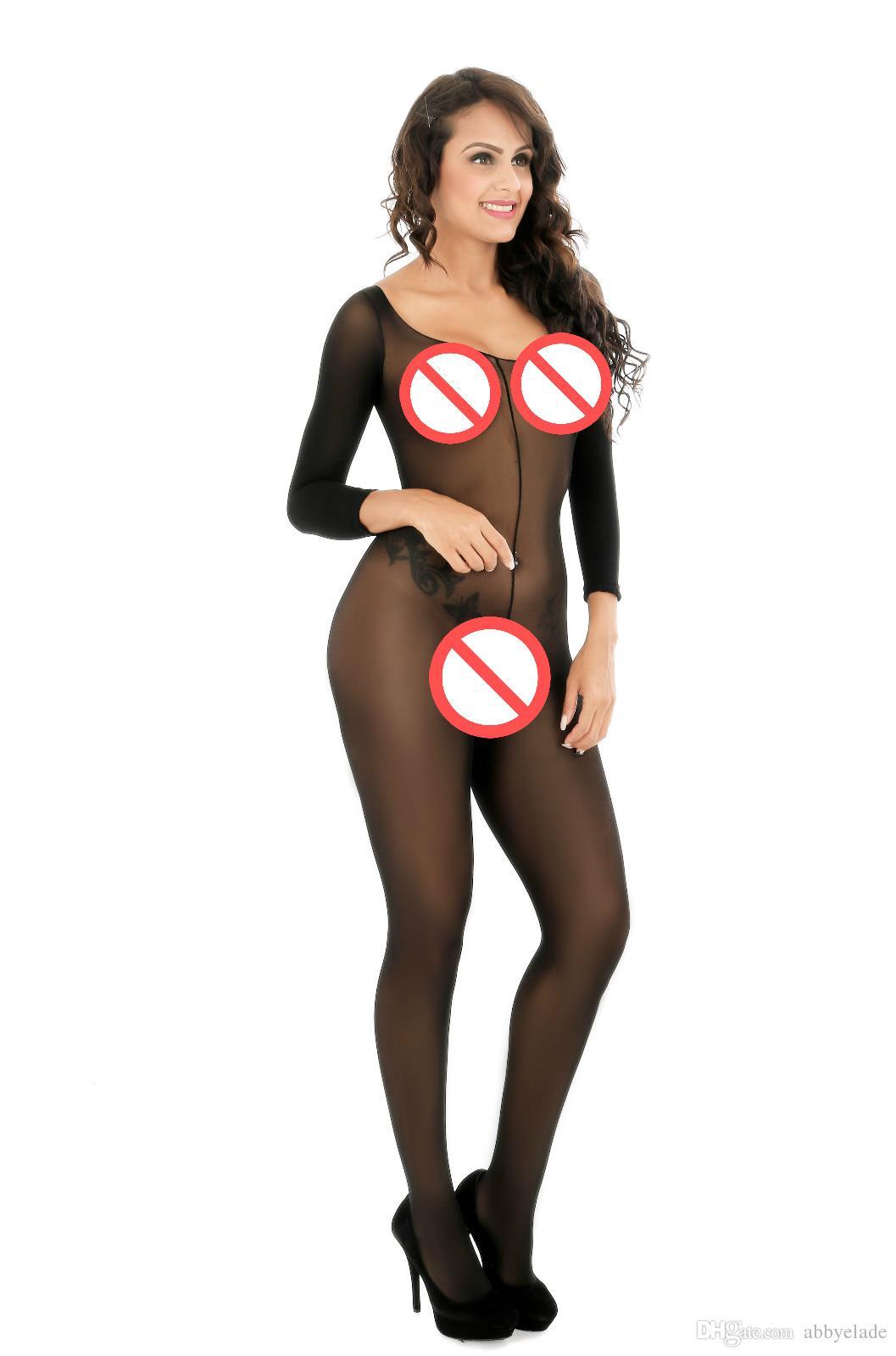 Noir sexy et opaque crotchless manches trois-quarts corps corps bas collants lingerie érotique lingerie
