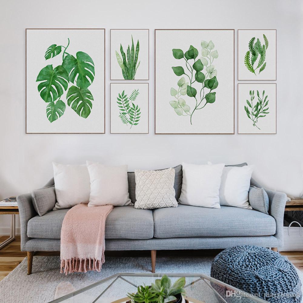 Grosshandel Moderne Aquarell Tropical Leaf Poster Leinwand Floral