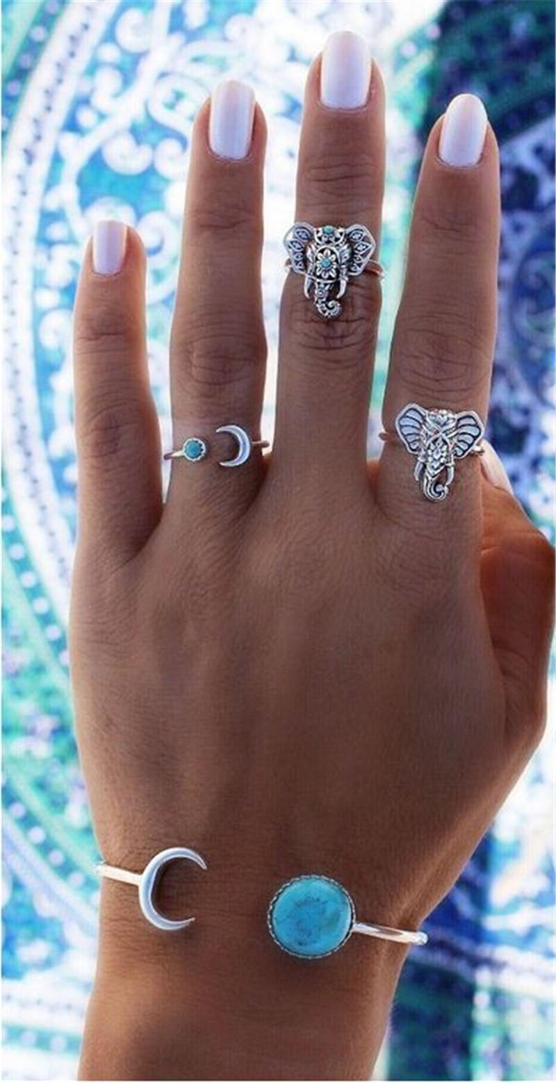 Elephant jewelry set ring Moon arrow six pieces of turquoise animal zodiac rings 2017 foreign trade fashion acc228