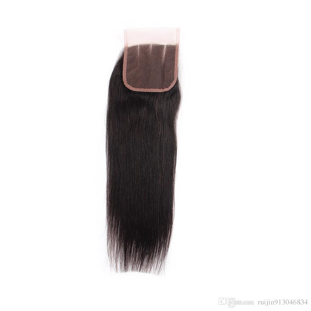Brazilian Straight Virgin Hair Weaves 3 Bundles with Closure 4x4 Unprocessed Brazilian Straight Weft Human Hair Extensions with Lace Free P