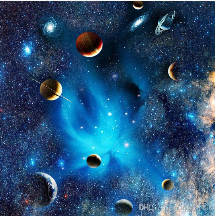 Özel 3D Uzay Duvar Kağıdı Astronomik Galaxy Gezegen Peyzaj Tavan Arkaplan Dekor Duvar Kağıdı Oturma Odası Duvar Resimleri