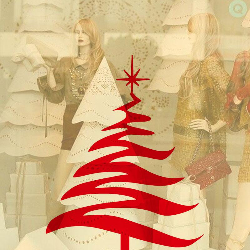 Hot Star Over The Christmas Tree Wall Decals Window Clothes Shop ...