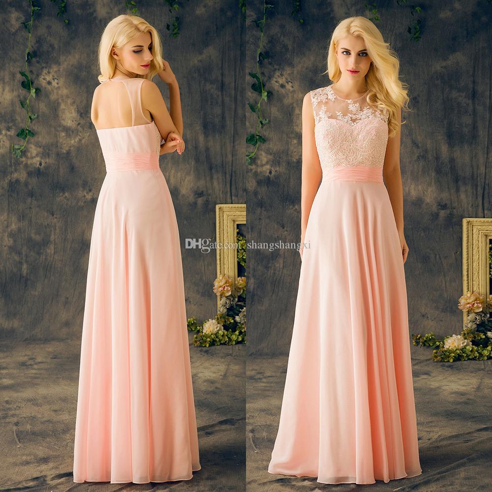 2017 baby pink chiffon bridesmaids dresses long lace hollow 26 ombrellifo Choice Image