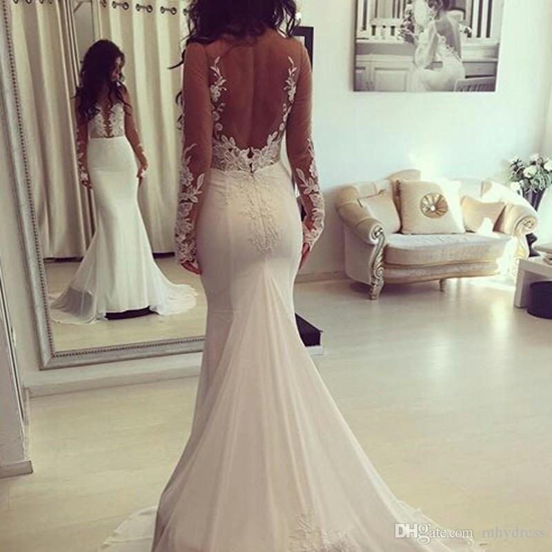 Simple Backless Wedding Gown 2017 Long Sleeves Sheer Mermaid Wedding