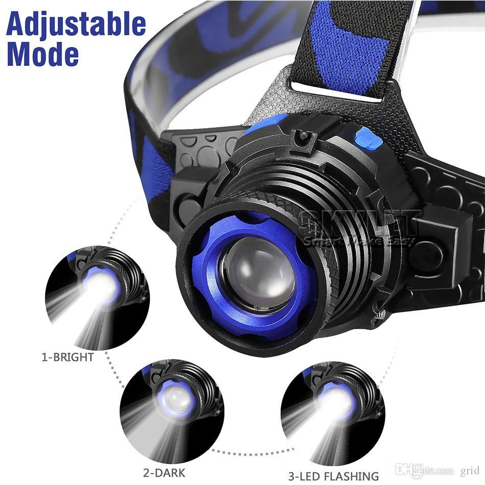 LED Headlamp 1 CREE Flashlight Adjustable 90 Degree Headlamp Zoomable Light For Hunting Camping Climbing with Retail Package