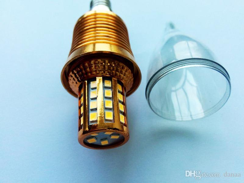 Kerzenlampe, Dekorationsleuchter und andere Lichter, Sanan-Chips Aluminiumplatte Gold Farbe 9w warmweiß