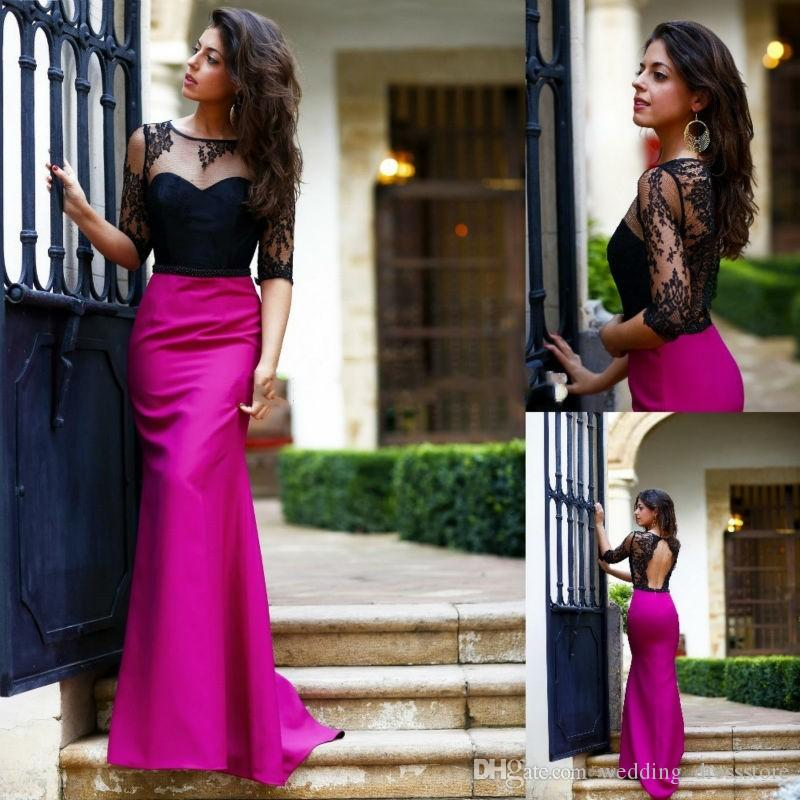 Elegant Half Sleeves Black and Purple Mermaid Evening Dresses 2017 Mock Two pieces Long Lace Prom Dress Hollow Back Party Gowns