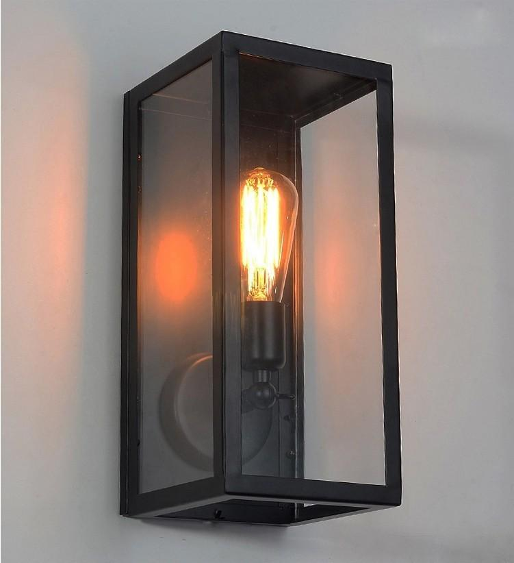 Porch Light Box: 2019 Clear Glass Box Cover Outdoor Retro Cage Edison Bulb