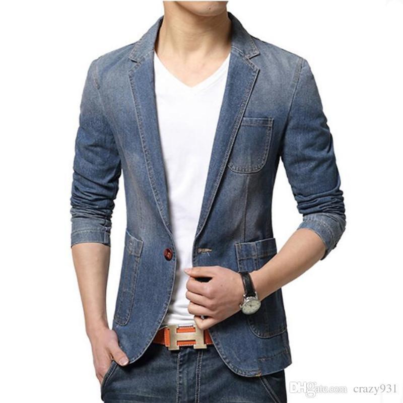 new concept 8584b 996d6 Blazer di marca uomo moda mens giacca cappotto giacca sportiva giacca  maschile masculino slim fit casual autunno jeans giacca uomo Suit