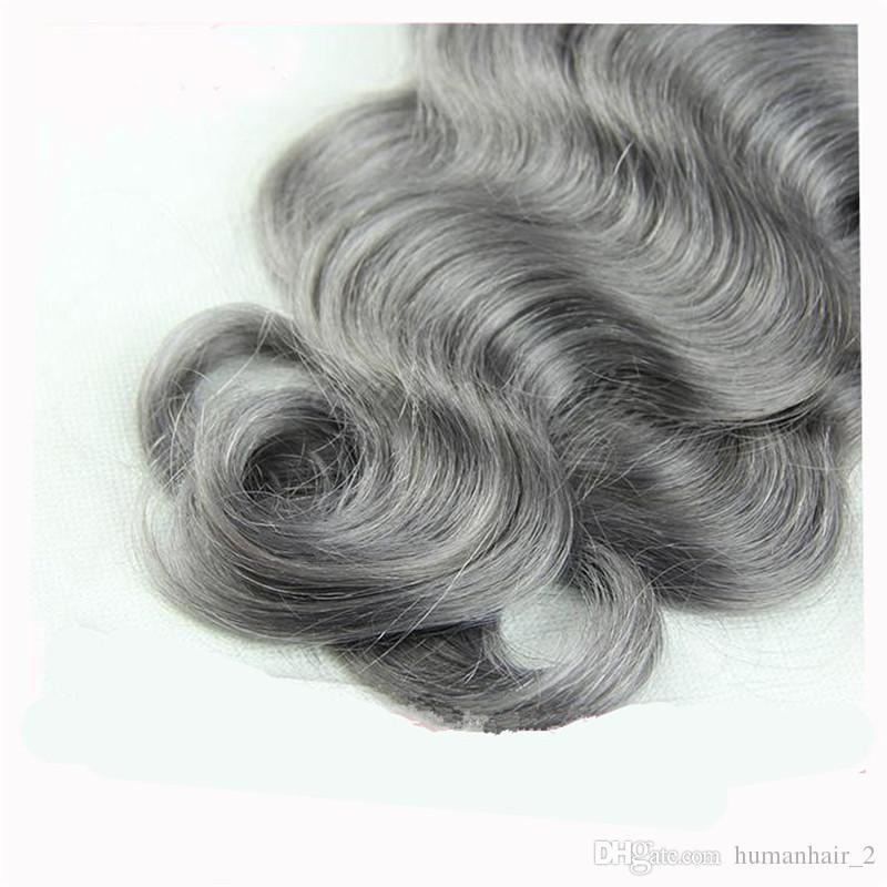 8а класса перуанский серый волос ткать с закрытием тела волны два тона Ombre 1b серебристо-серый Ombre пучки человеческих волос и кружева закрытия