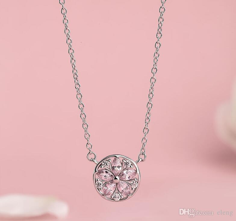 Top Grade Diamond Pendant Necklace Cubic Zircon 925 sterling silver cherry blossom Pendant necklace For Wedding Party Women Jewelry