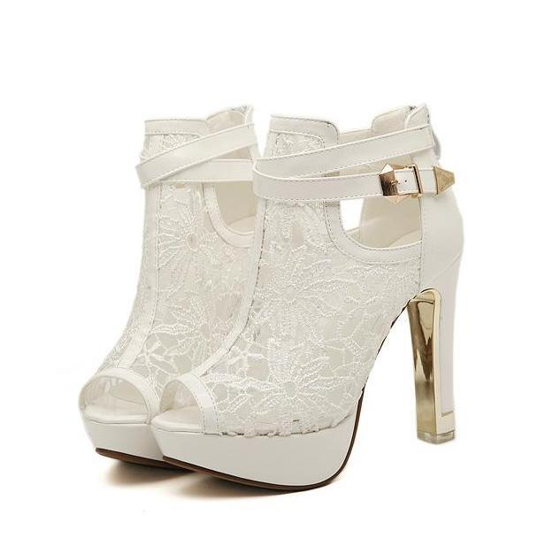 Lace Wedding Shoes.Elegant Bridal Wedding Shoes Lace Wedding Boots Summer Hollow Out Platform Shoes Party Evening Size 34 To 39