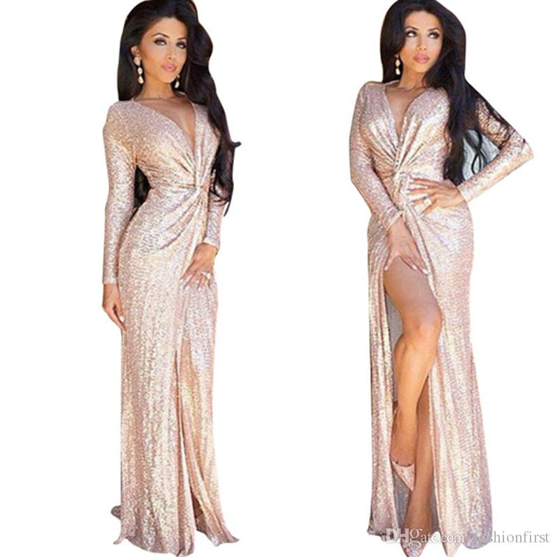 Sequined Dress Maxi Party 90s Boho Ruched Gown Deep V Neck 1990s ...