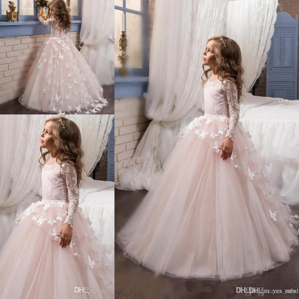 2017 New Hot Flower Girls Dresses For Weddings Long Sleeves Lace ...