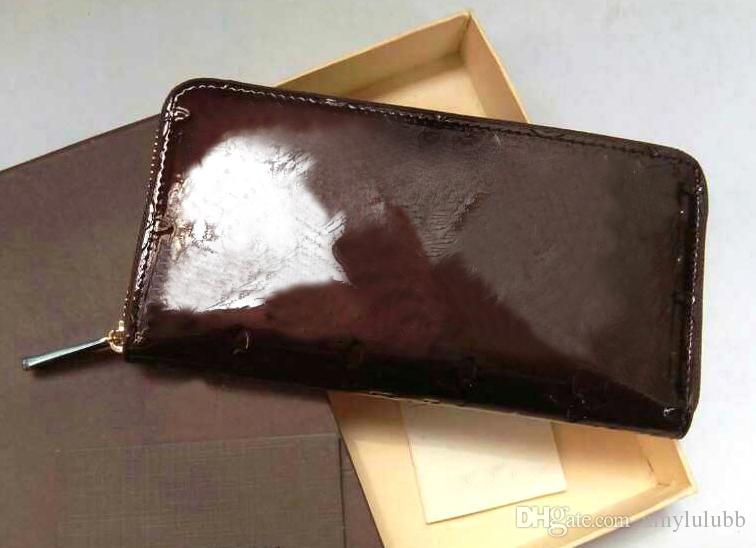 2017 Wholesale Patent leather shinny luxury brand long wallet Fashion high quality original box coin purse women man classic zipper pocket