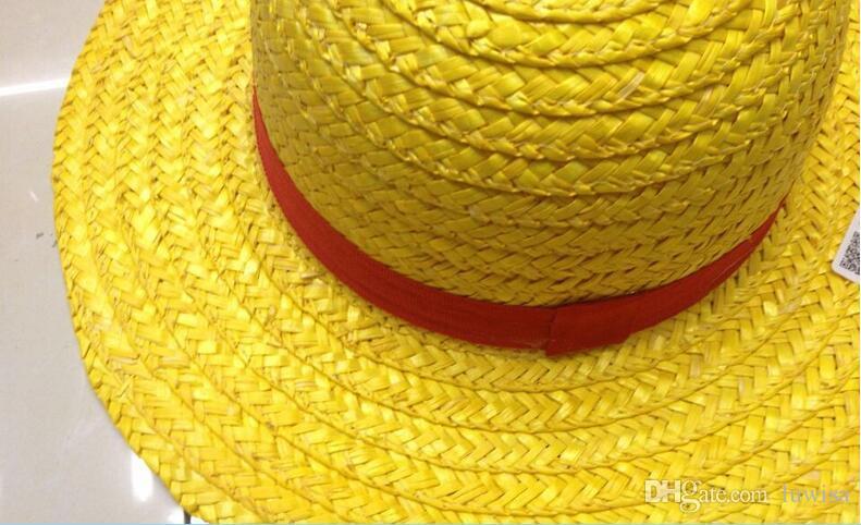 Cosplay cappello di puntelli di cartone animato giapponese Luffy strawhat cappello monopezzo bambini / adulto Cappello di paglia Visor Cappelli ampi a tesa larga