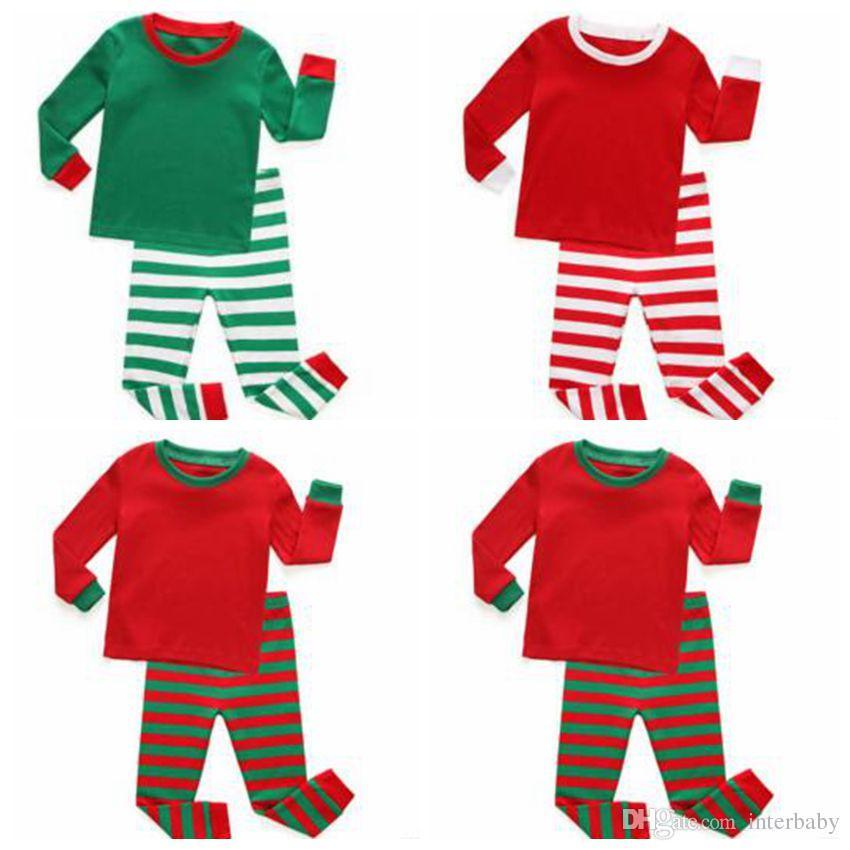 1ae5ec87e5c5f Kids Clothes Baby Christmas Pajamas Boys Xmas Stripe Nightsuits Girls  Cotton T Shirts Pants Outfits Long Sleeve Tops Trousers Suits Gifts K3  Girls Pjs On ...