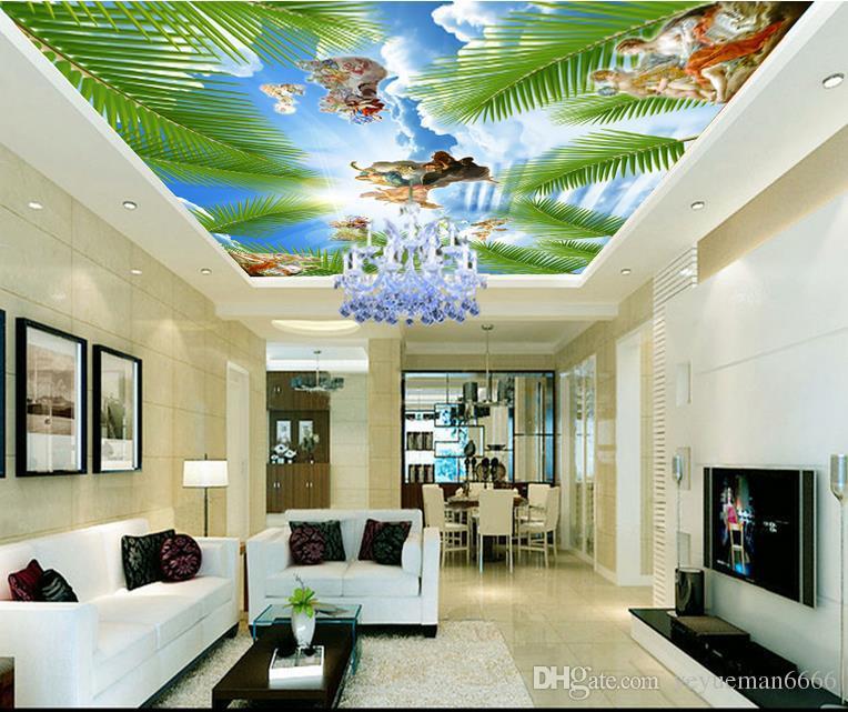 custom 3d modern ceiling HD blue sky white clouds European style wallpapers for living room 3d ceiling murals wallpaper european