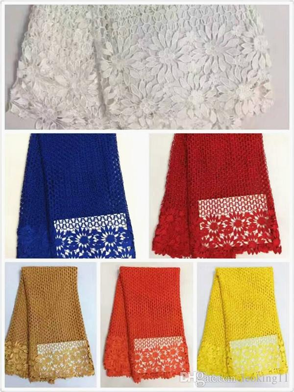 5 Yards/pc beautiful red french guipure lace fabric and flower mesh lace embroidery african water soluble lace for clothes RW5-3