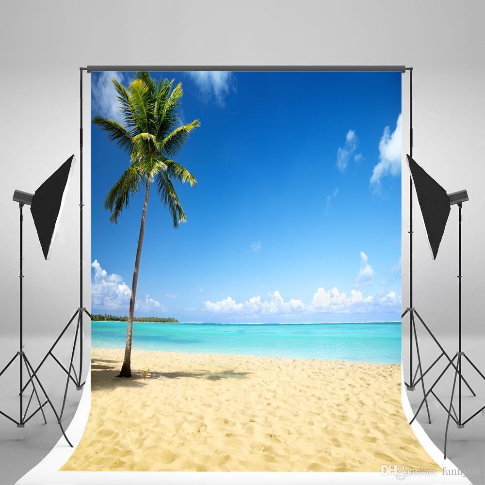 Acquista 5x7ft 150x210cm Sfondi Di Mare E Spiaggia Cielo Blu Nuvola