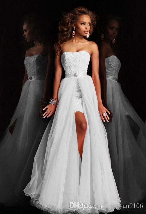 New design high low short strapless pure white wedding dress see larger image junglespirit Image collections
