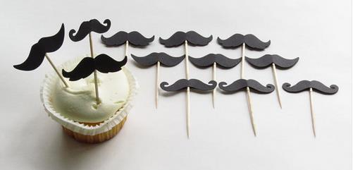 Cheap Custom Mustache Cupcake Toppers Baby Bridal Shower Girls