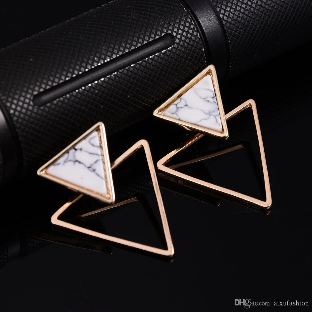 Fashion Simple Geometric Earring Stud Western Popular Style Marble Carved Turquoise Alloy Earrings Women Jewelry Earrings Stud New 2017