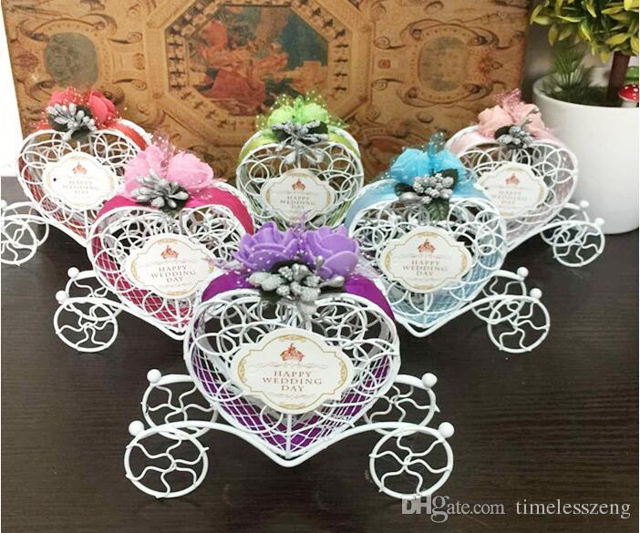2019 Iron Romantic Pumpkin Carriage Wedding Candy Box