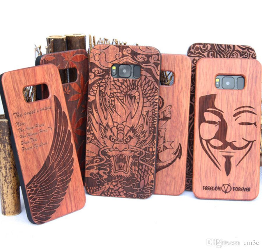 premium selection 8a476 30805 Hot sale Luxury Wood Phone Cover For Iphone 5 6 6S 7 Plus Wood Cases Hard  Back Shell For Samsung Galaxy S8 S8 Plus S5 S6 S7 edge