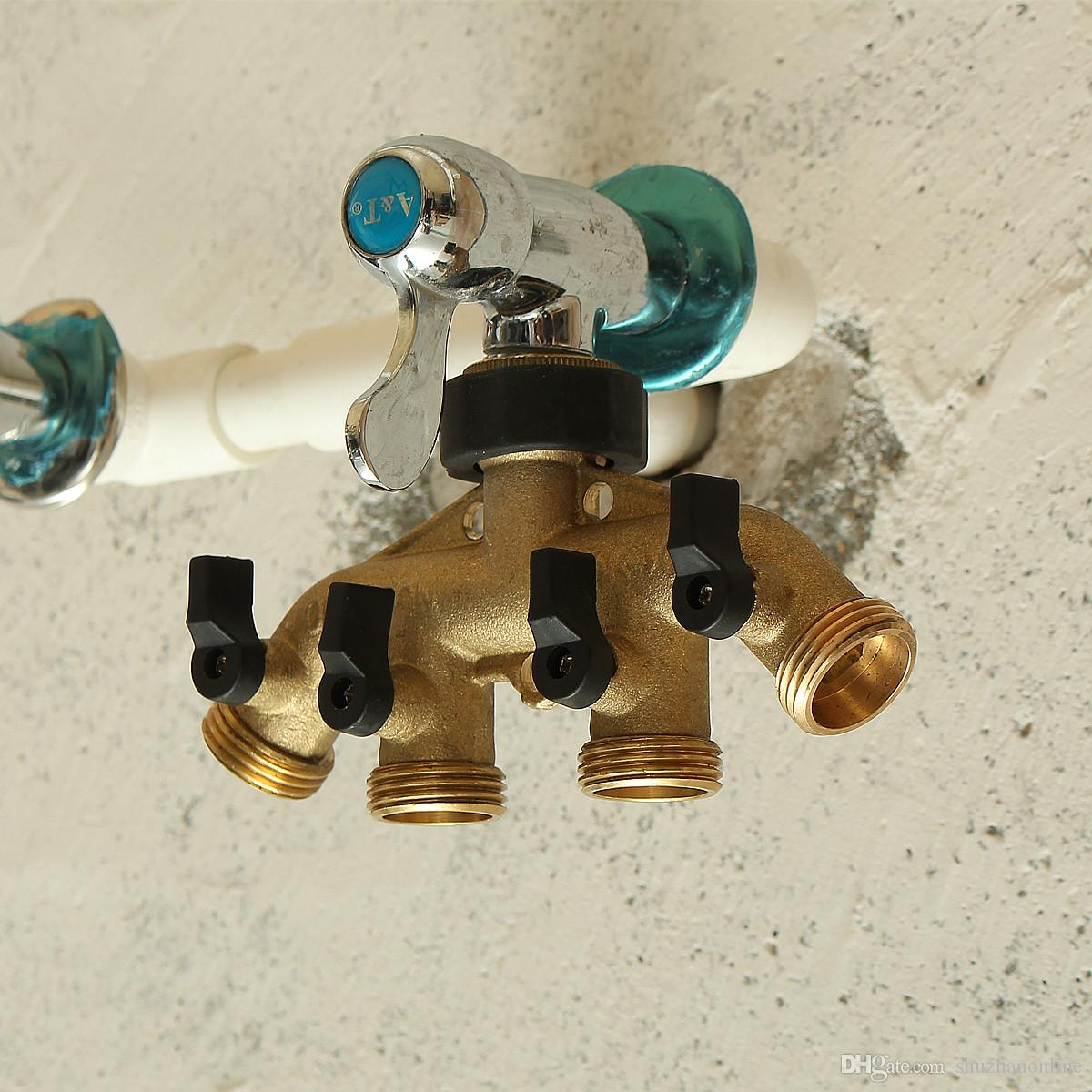 3/4 Inch 4 Way Hose Pipe Switcher Solid Brass Garden Tap Connector Splitter Nozzle Adaptor