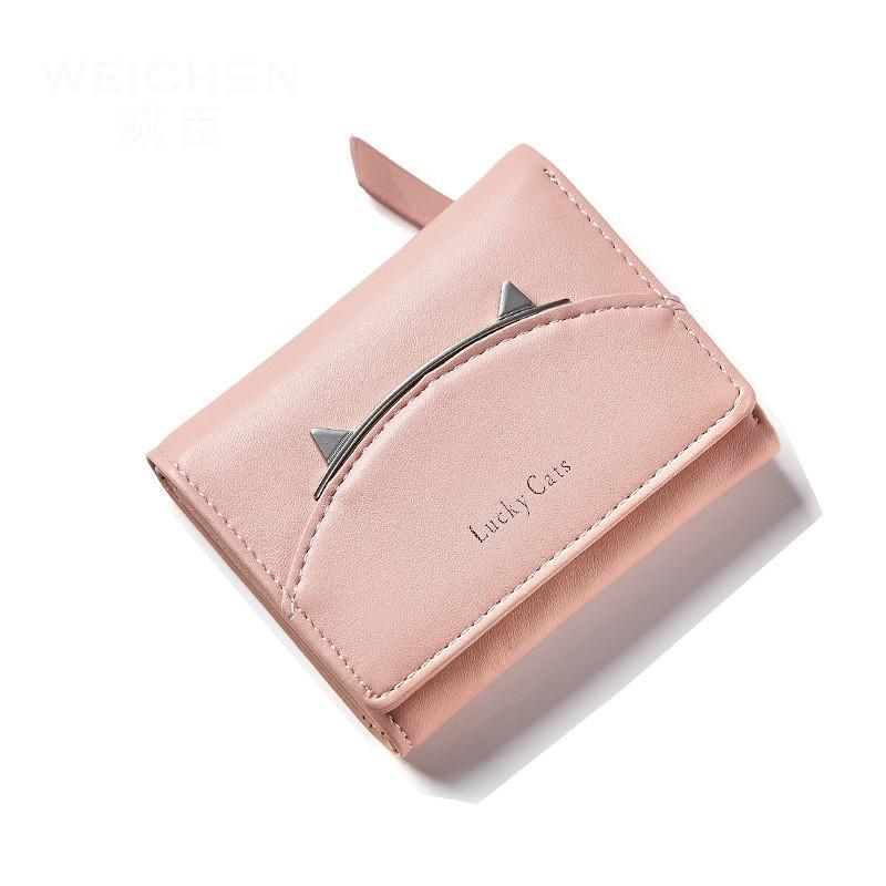 493ebe209c8 2017 Korean Cute Cat Anime Leather Trifold Slim Mini Wallet Women Small  Clutch Female Purse Coin Card Holder Dollar Bag Cuzdan