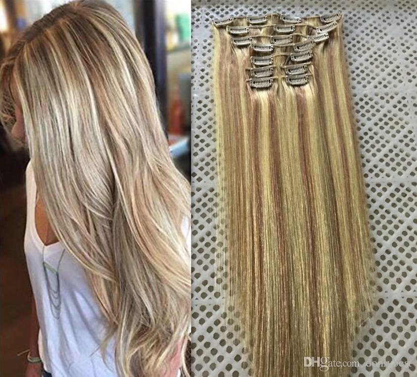 Lummy Brazilian Remy Human Hair Clips In Human Hair Extension 14 26