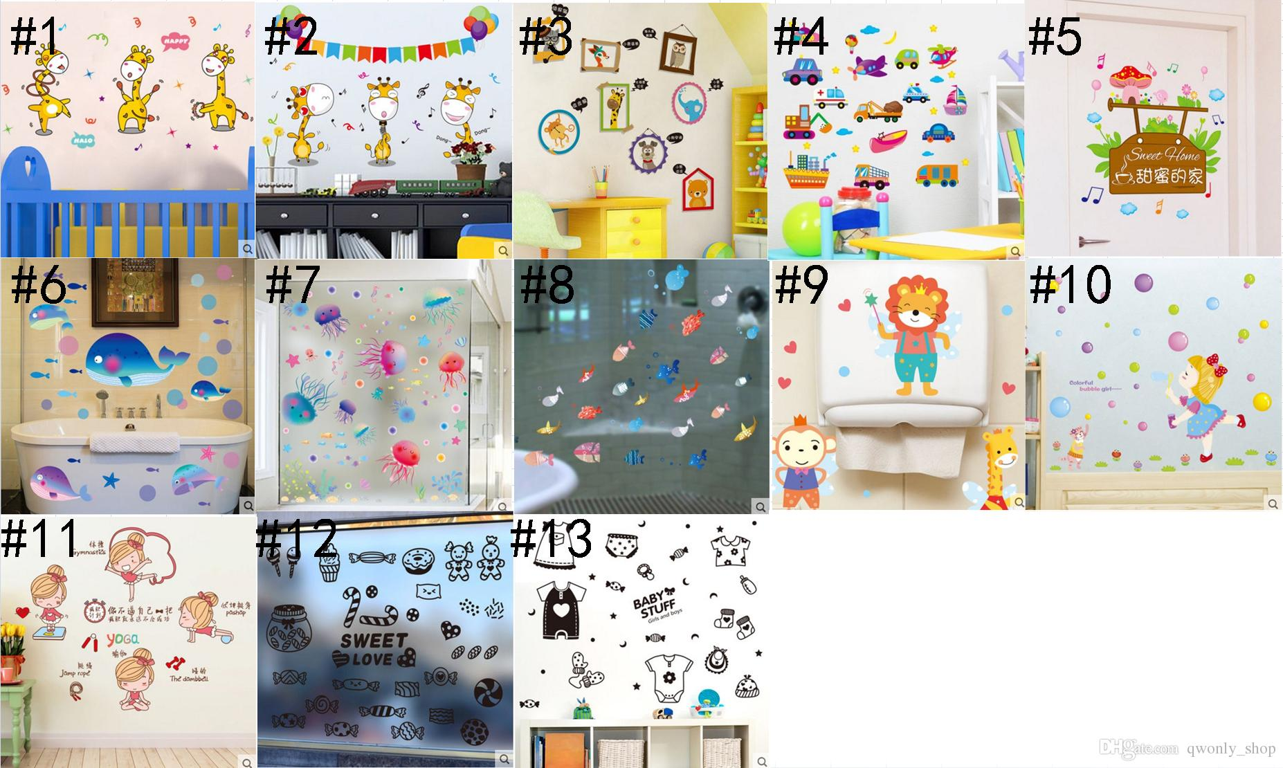 Fashion Children Cartoon Submarine World 3D Stickers PVC Wallpaper Nursery Children Kids Baby Room Bedroom Wall Decoration