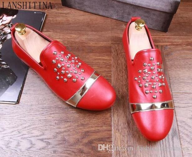 Lujo Red Men zapatos holgazanes ronda dedo del pie resbalón en remaches encanto Casual pisos hombre negro elegante fiesta mostrar zapatos hombre zapatos