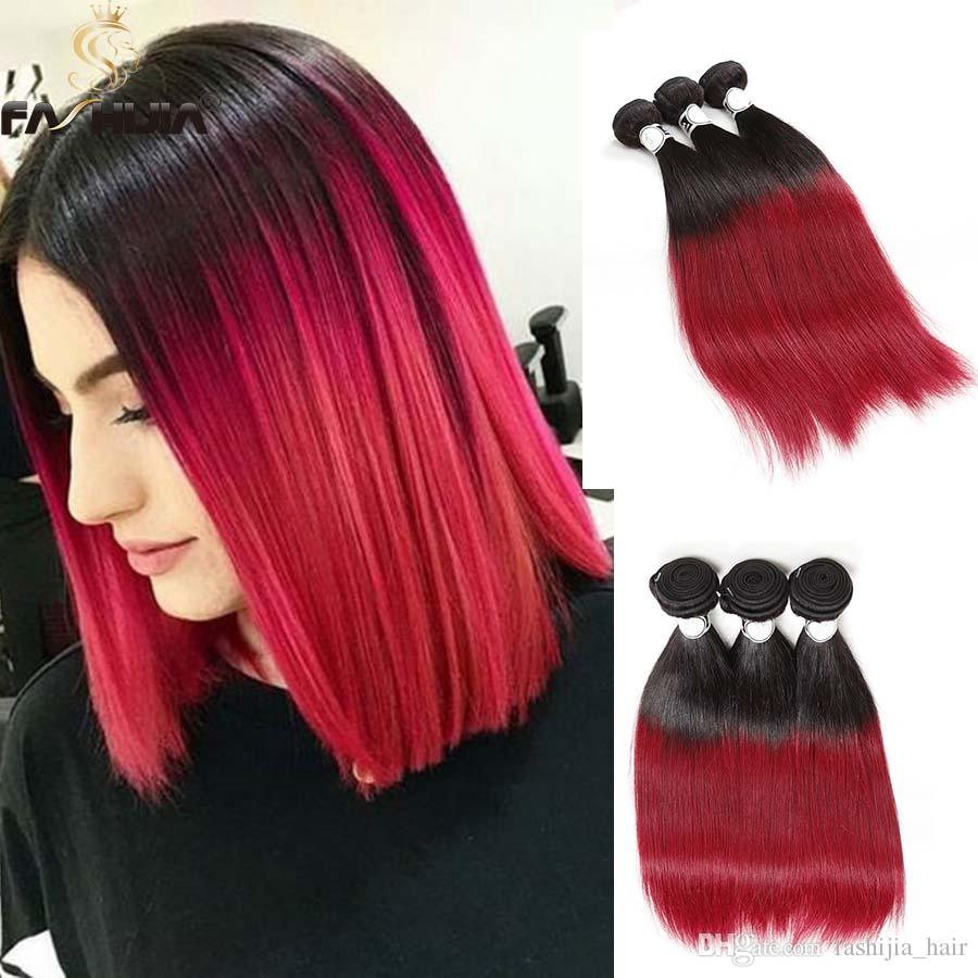 Ombre to red Black hair rare photo