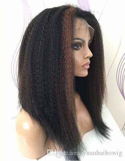 Kinky Straight Highlight Color Front Lace Wig in Stocks 150% Density Full Lace Wig Virgin Brazilian Hair Glueless Wigs