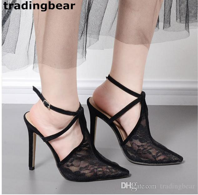 0327dc66933 Sexy Women High Heels Black Lace Bud Silk Pointed Toe Sling Back Prom Gown Dress  Shoes Size 35 To 40 Sperry Shoes Silver Heels From Tradingbear